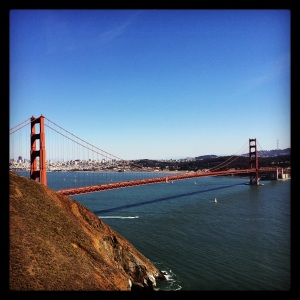 Iconic view of the Golden Gate Bridge.