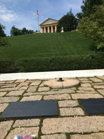 JFK gravesite with the Robert E. Lee house on the hill above.